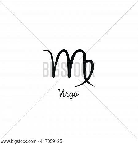 Hand Drawn Virgo Zodiac Illustration. Simple Line Hand Virgo Zodiac Icon. Virgo Zodiac Vector Symbol