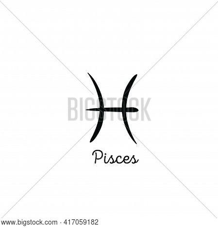 Hand Drawn Pisces Zodiac Illustration. Simple Line Pisces Zodiac Icon. Zodiac Vector Symbol. Hand Dr