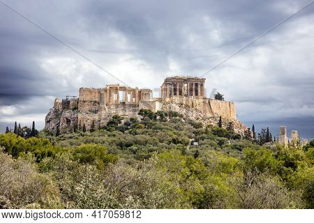 Athens, Greece, Acropolis Hill, Cloudy Sky Background
