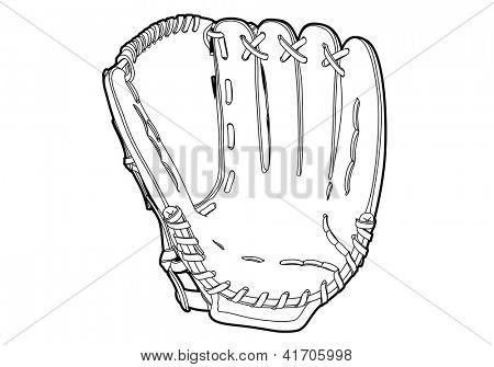 Baseball glove on white background (outline)
