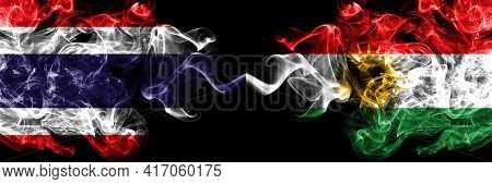 Thailand, Thai Vs Kurdistan, Kurdish, Kurds Smoky Mystic Flags Placed Side By Side. Thick Colored Si