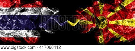 Thailand, Thai Vs Macedonia, Macedonian Smoky Mystic Flags Placed Side By Side. Thick Colored Silky