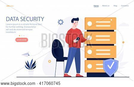 Digital Data Security. Data Storage And Analysis Services In Database, Computing Support And Big Dat