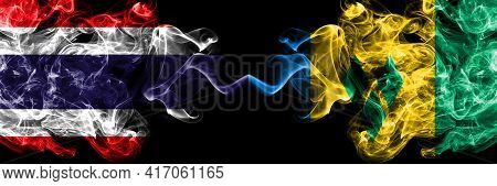 Thailand, Thai Vs Saint Vincent And The Grenadines Smoky Mystic Flags Placed Side By Side. Thick Col