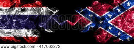 Thailand, Thai Vs United States Of America, America, Us, Usa, American, Confederate Navy Jack Smoky
