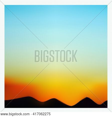 Sky At Dawn Before Sunrise Or After Sunset. Vector Graphics.