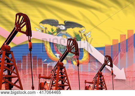 Ecuador Oil Industry Concept, Industrial Illustration - Lowering Down Chart On Ecuador Flag Backgrou