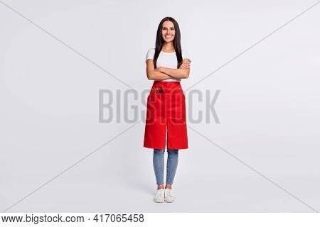 Full Size Photo Of Optimistic Brunette Long Hairdo Lady Crossed Arms Wear T-shirt Isolated On Grey B