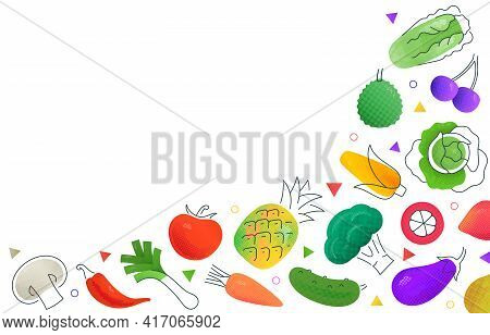 Simple Mockup Vector Design With Various Multicolored Fruits And Vegetables Depicted On White Backgr