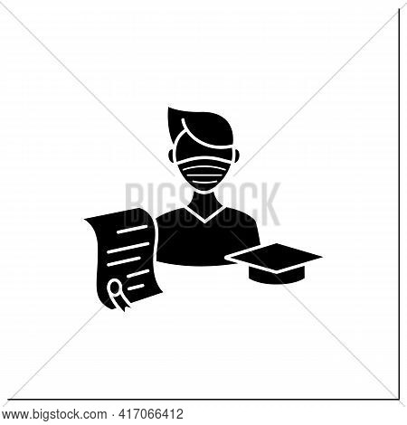 Undergraduate Student Glyph Icon. Personal Growth. Education Process. Bachelor Degree. Person Studyi