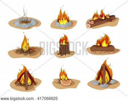 Wood Campfire Set, Travel And Adventure Symbol. Outdoor Bonfire, Fire Burning Wooden Logs And Campin