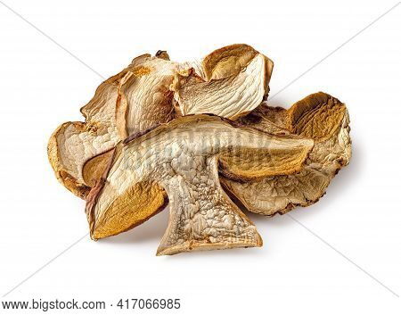 Dry Slices Of Porcini Isolated On White Background. Edible Forest Fungus With Intense Mushroom Flavo