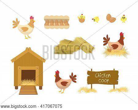 Chicken Coop And Hays On White Background. Chicken Coop Chicks Elements Illustration