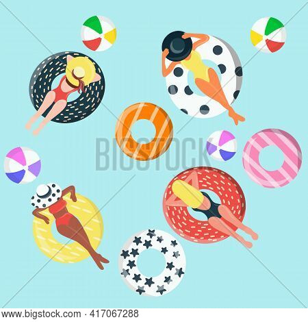 Summer Poster And Banner Template With Women On Round Pool Floats In The Tiled Pool Background. Top