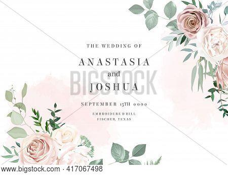 Ivory Beige And Dusty Rose, White Peony, Protea, Ranunculus, Eucalyptus