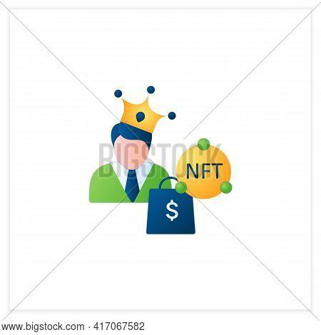 Nft Buyer Flat Icon. Gain Possession Original Digital File. Buying Nft Files. Digitalization Concept