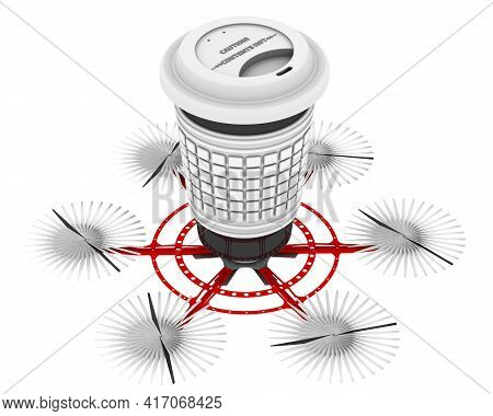 Delivery Of Hot Drinks In A Thermo Mug Using A Copter. Unmanned Aerial Vehicle With Six Propellers T