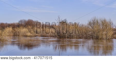 Spring Flood On The Siberian River Vagai, Russia. Beautiful Countryside Landscape. Flooded Bushes An