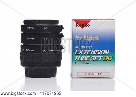 IRVINE, CALIFORNIA - 16 MAY 2020: A set of 3 Kenko Extension Tubes for digital cameras, with Nikon Mount.
