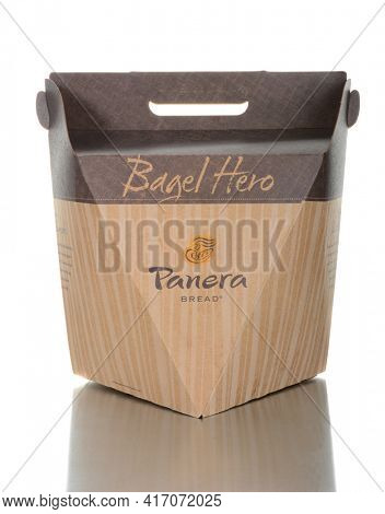 IRVINE, CALIFORNIA - JUNE 26, 2014: A Panera Bread Bagel Box. Panera Bread began as Au Bon Pain Co. on 1981 and by 2014 had 1800 bakery-cafes in the USA and Canada.