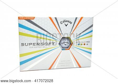 IRVINE, CA - MAY 31, 2017: Callaway Super Soft Golf Balls. A dozen count box of colorful balls from the Carlsbad, California sporting goods company.