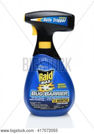IRVINE, CA - SEPTEMBER 15, 2014: A bottle of Raid Max Bug Barrier. Raid is the brand name of a line of insecticide products produced by S. C. Johnson and Son, first launched in 1956.