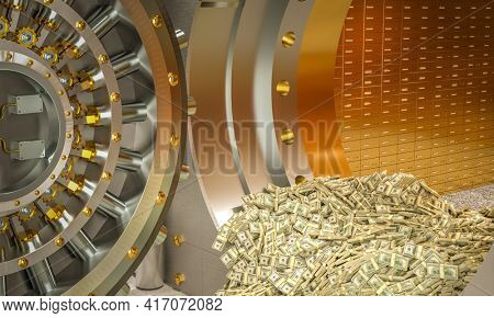 bank vault from which wads of dollars come out. 3d render