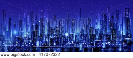 Night City Skyline With Neon Glow. Illustration With Architecture, Skyscrapers, Megapolis, Buildings