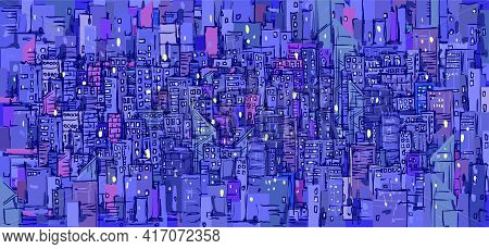 Urban Vector Cityscape Background. City Background With Architecture, Skyscrapers, Megapolis, Buildi