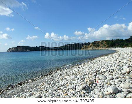 Cala Jondal beach in Ibiza, Spain