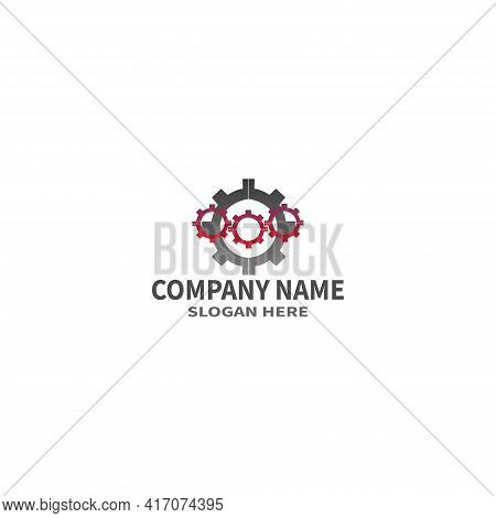 Setting  Gear  Logistic  Global Blue Solid Logo With Place For Tagline. Vector Icon Template Backgro