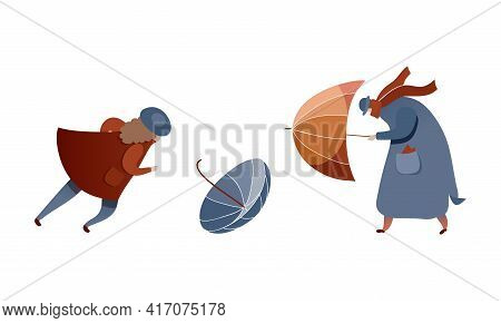 Male And Female Struggling To Hold Umbrella In Windy And Stormy Weather Vector Illustration Set