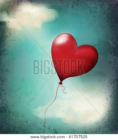 retro card( balloon-hearts flying in the sky)