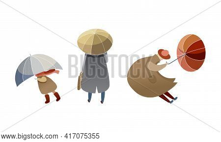 People Characters Struggling To Hold Umbrella In Windy And Stormy Weather Vector Illustration Set