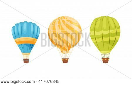 Hot Air Balloon As Light Aircraft With Envelope Containing Heated Air And Gondola Or Basket Vector S
