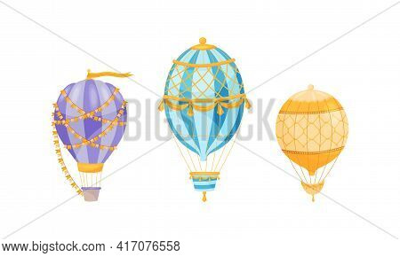 Hot Air Balloon As Light Aircraft With Envelope And Gondola Decorated With Flag Garland And Tassels