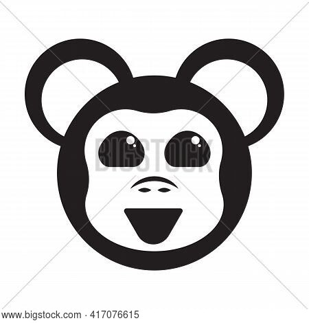 Cute Monkey Character Icon. Cheerful Baby Chimp Face Logo. Vector Illustration.