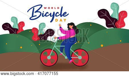 World Bicycle Day Background Illustration Vector. Bicycle Day Web Banner And Online Flyer.