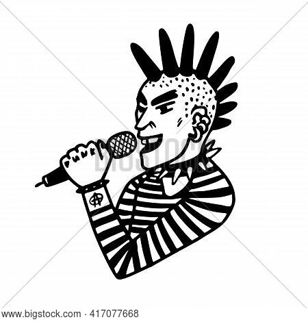 Punk Rock Collection. Portrait Of A Punk Rocker Guy Singer With Mohawk And Microphone On White Backg