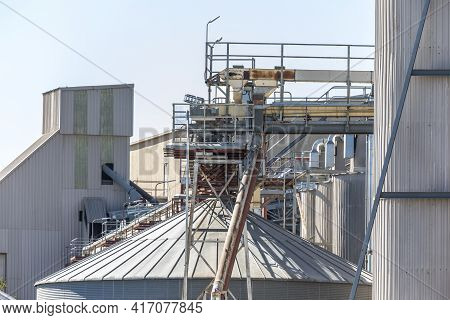 Production Buildings And Storage Tanks And Catwalk At A Large Flour Mill