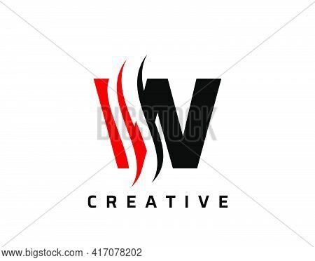 W Letter Swoosh Logo Design. Vector Lettering Illustration