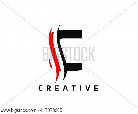 C Letter Swoosh Logo Design. Vector Lettering Illustration