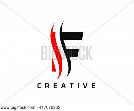 F Letter Swoosh Logo Design. Vector Lettering Illustration