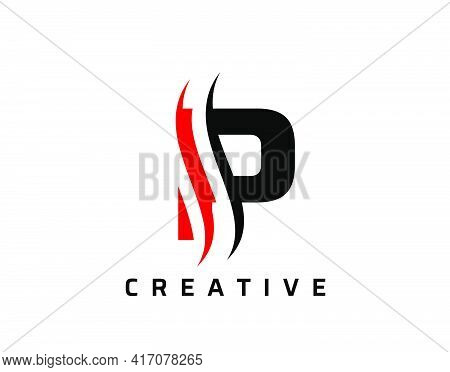 P Letter Swoosh Logo Design. Vector Lettering Illustration