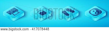 Set Isometric Spa Salon Signboard, Spa Salt, Yin Yang And Slipper Icon. Vector