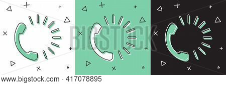 Set Food Ordering Icon Isolated On White And Green, Black Background. Order By Mobile Phone. Restaur