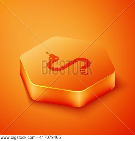 Isometric Snake Icon Isolated On Orange Background. Orange Hexagon Button. Vector