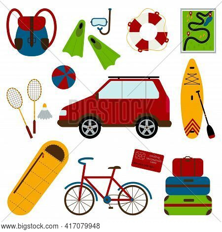 A Set Of Necessary Things To Travel By Car. Backpack, Fins, Diving Mask, Lifebuoy, Map, Badminton, B