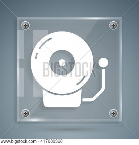 White Ringing Alarm Bell Icon Isolated On Grey Background. Alarm Symbol, Service Bell, Handbell Sign