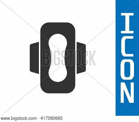 Grey Menstruation And Sanitary Napkin Icon Isolated On White Background. Feminine Hygiene Product. V